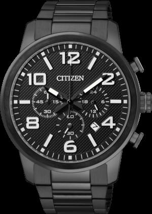 Herrenuhr Citizen Basic Chrono mit schwarzem Zifferblatt und Edelstahlarmband