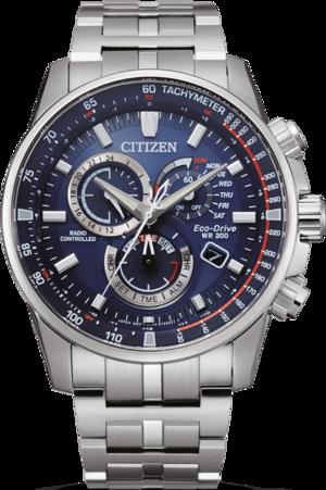 Herrenuhr Citizen Citizen Analog Funk Chronograph 42,5 mit blauem Zifferblatt und Edelstahlarmband