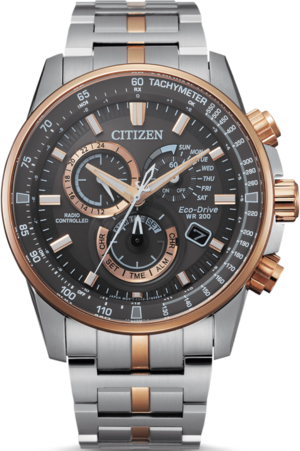 Herrenuhr Citizen Citizen Analog Funk Chronograph 42,5 mit schwarzem Zifferblatt und Edelstahlarmband