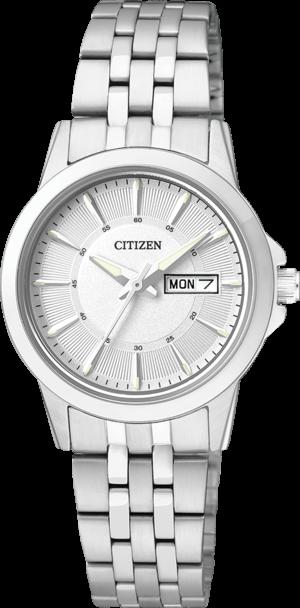 Damenuhr Citizen Basic Damen mit silberfarbenem Zifferblatt und Edelstahlarmband