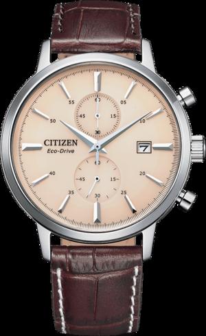 Herrenuhr Citizen Eco-Drive Vintage Chronograph mit beigefarbenem Zifferblatt und Armband aus Kalbsleder mit Krokodilprägung