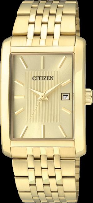 Herrenuhr Citizen Basic Herren mit gelbgoldfarbenem Zifferblatt und Edelstahlarmband
