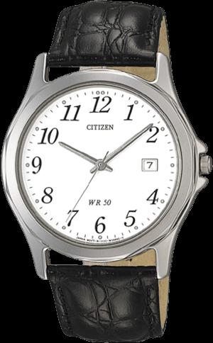 Herrenuhr Citizen Basic Herren mit weißem Zifferblatt und Rindsleder-Armband