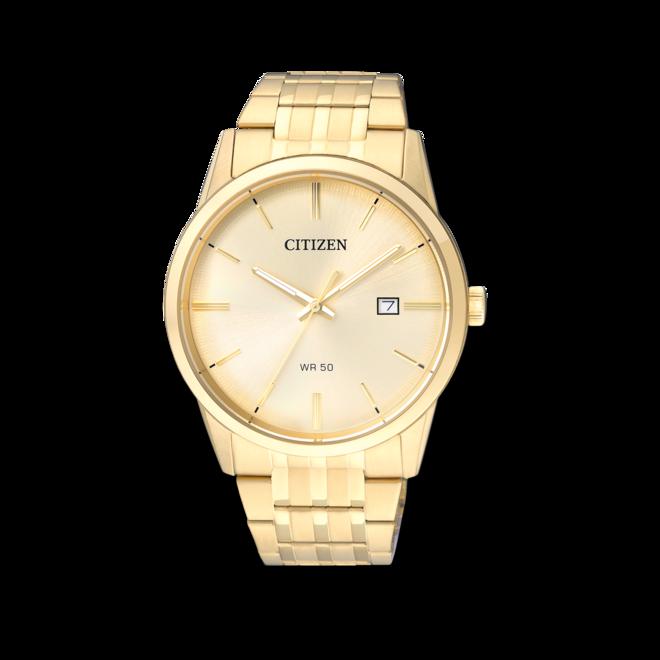 Armbanduhr Citizen Basic Quarz 39mm mit gelbgoldfarbenem Zifferblatt und Edelstahlarmband bei Brogle