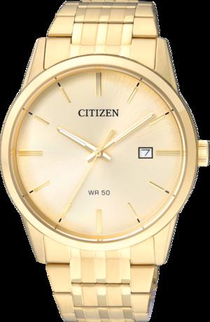 Armbanduhr Citizen Basic Quarz 39mm mit gelbgoldfarbenem Zifferblatt und Edelstahlarmband