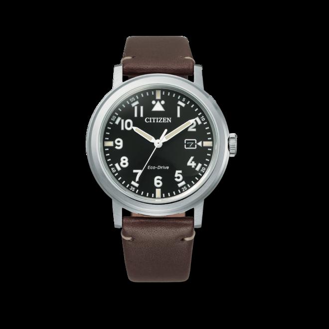 Herrenuhr Citizen Basic Quarz 42mm mit schwarzem Zifferblatt und Kalbsleder-Armband bei Brogle