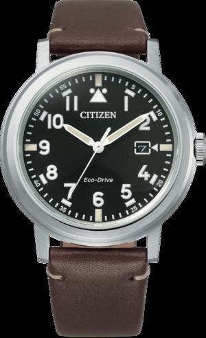 Herrenuhr Citizen Basic Quarz 42mm mit schwarzem Zifferblatt und Kalbsleder-Armband