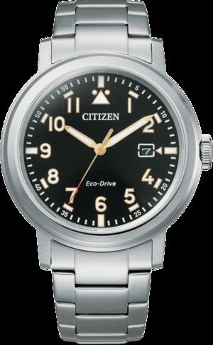 Herrenuhr Citizen Basic Quarz 42mm mit schwarzem Zifferblatt und Edelstahlarmband