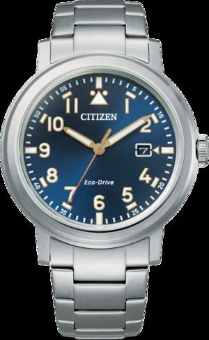 Herrenuhr Citizen Basic Quarz 42mm mit blauem Zifferblatt und Edelstahlarmband