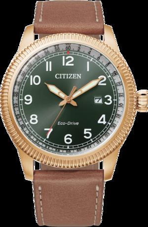 Herrenuhr Citizen Basic Quarz 43mm mit grünem Zifferblatt und Kalbsleder-Armband