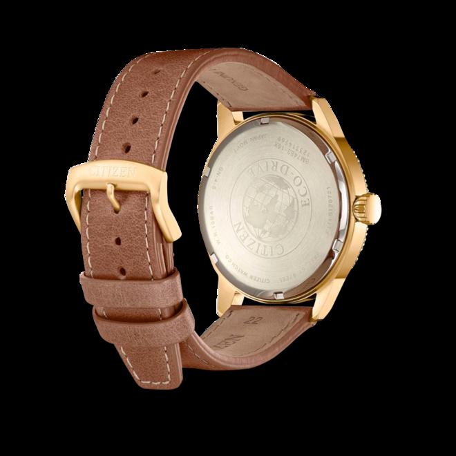 Herrenuhr Citizen Basic Quarz 43mm mit grünem Zifferblatt und Kalbsleder-Armband bei Brogle