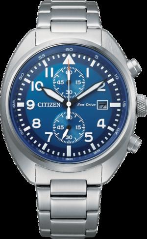 Herrenuhr Citizen Basic Quarz Chronograph 41mm mit blauem Zifferblatt und Edelstahlarmband