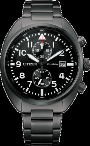 Herrenuhr Citizen Basic Quarz Chronograph 41mm mit schwarzem Zifferblatt und Edelstahlarmband