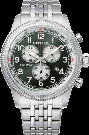 Herrenuhr Citizen Basic Quarz Chronograph 43mm mit grünem Zifferblatt und Edelstahlarmband
