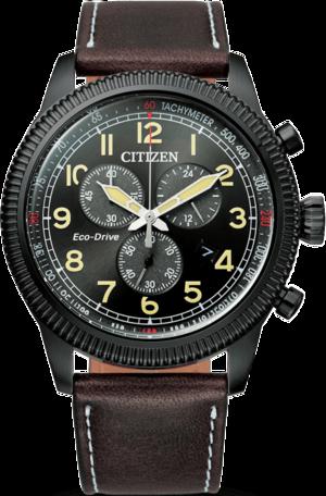 Herrenuhr Citizen Basic Quarz Chronograph 43mm mit schwarzem Zifferblatt und Kalbsleder-Armband