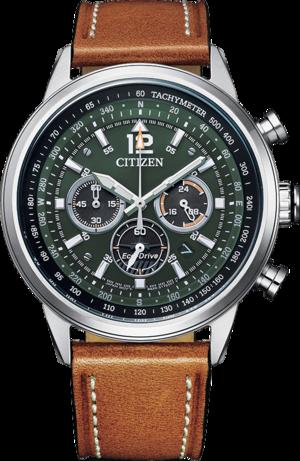 Herrenuhr Citizen Basic Quarz Chronograph 44mm mit grünem Zifferblatt und Kalbsleder-Armband