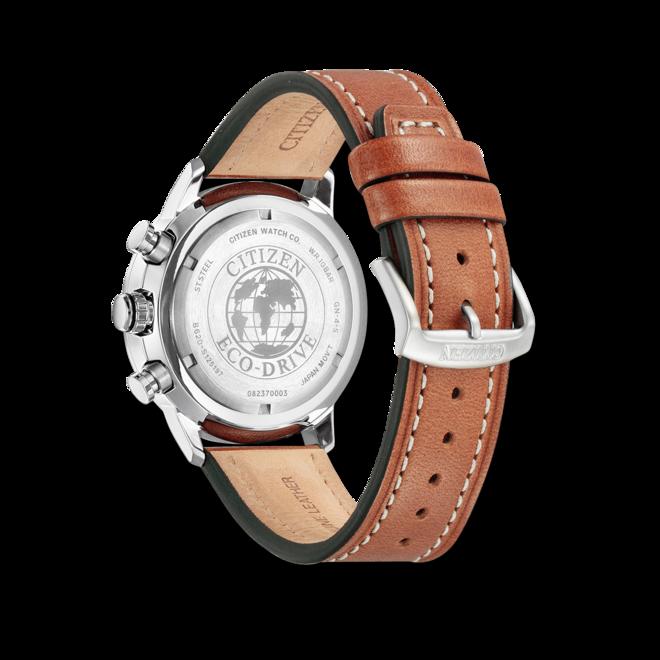 Herrenuhr Citizen Basic Quarz Chronograph 44mm mit grünem Zifferblatt und Kalbsleder-Armband bei Brogle