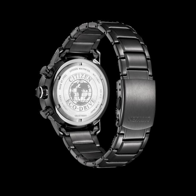 Herrenuhr Citizen Basic Quarz Chronograph 44mm mit schwarzem Zifferblatt und Edelstahlarmband bei Brogle