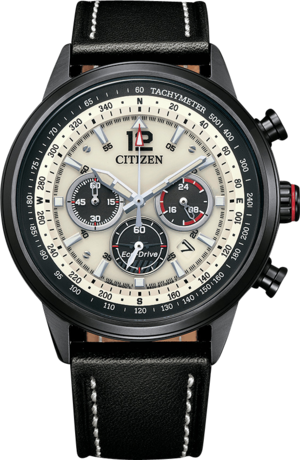 Herrenuhr Citizen Basic Quarz Chronograph 44mm mit Kalbsleder-Armband