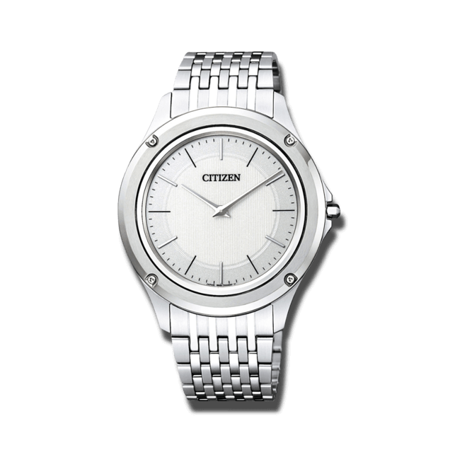 Armbanduhr Citizen Eco-Drive One mit weißem Zifferblatt und Edelstahlarmband bei Brogle