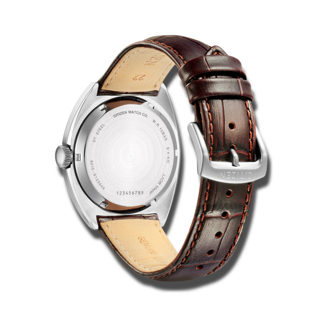 Herrenuhr Citizen Elegant Automatik 42mm mit grauem Zifferblatt und Armband aus Kalbsleder mit Krokodilprägung bei Brogle