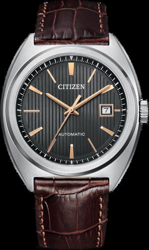 Herrenuhr Citizen Elegant Automatik 42mm mit grauem Zifferblatt und Armband aus Kalbsleder mit Krokodilprägung