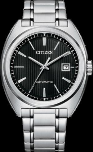 Herrenuhr Citizen Elegant Automatik 42mm mit schwarzem Zifferblatt und Edelstahlarmband
