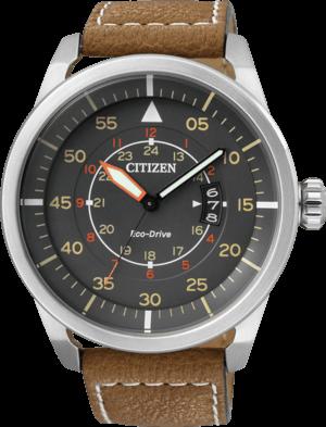Herrenuhr Citizen Aviator mit grauem Zifferblatt und Kalbsleder-Armband