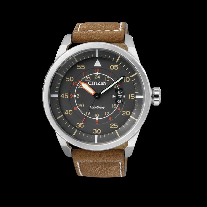 Herrenuhr Citizen Aviator mit grauem Zifferblatt und Kalbsleder-Armband bei Brogle