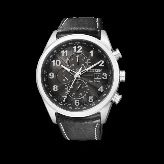 Herrenuhr Citizen Elegant Chrono mit schwarzem Zifferblatt und Kalbsleder-Armband