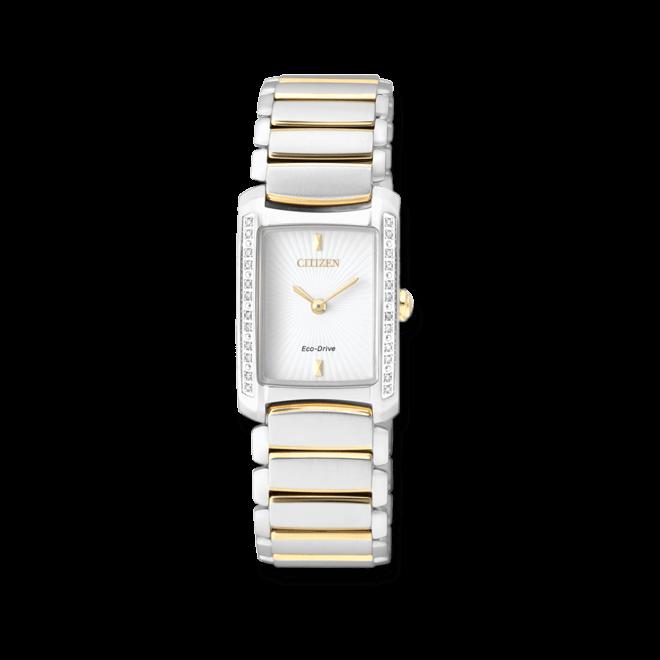 Damenuhr Citizen Elegant Damen mit Diamanten, weißem Zifferblatt und Edelstahlarmband