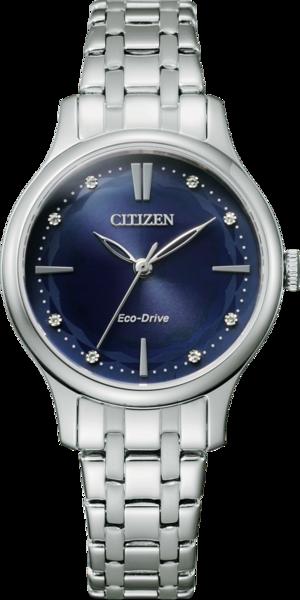 Damenuhr Citizen Elegant Damen mit Diamanten, blauem Zifferblatt und Edelstahlarmband