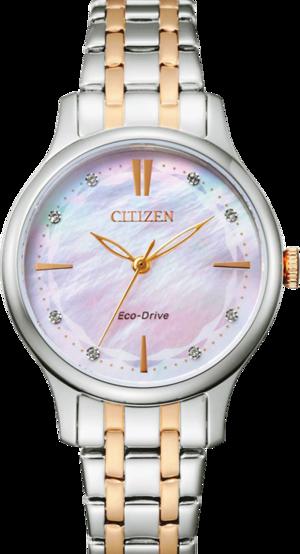 Damenuhr Citizen Elegant Damen mit Diamanten, perlmuttfarbenem Zifferblatt und Edelstahlarmband