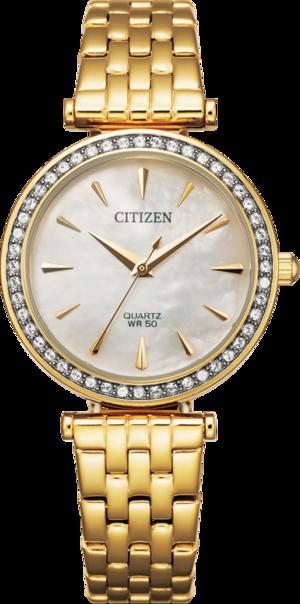 Damenuhr Citizen Elegant Damen mit perlmuttfarbenem Zifferblatt und Edelstahlarmband