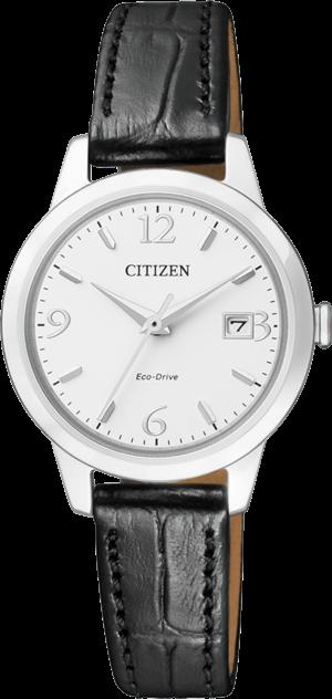 Damenuhr Citizen Elegant Damen mit weißem Zifferblatt und Armband aus Kalbsleder mit Krokodilprägung