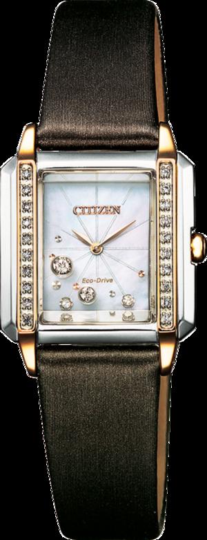 Damenuhr Citizen Eco Drive Elegance mit perlmuttfarbenem Zifferblatt und Textilarmband