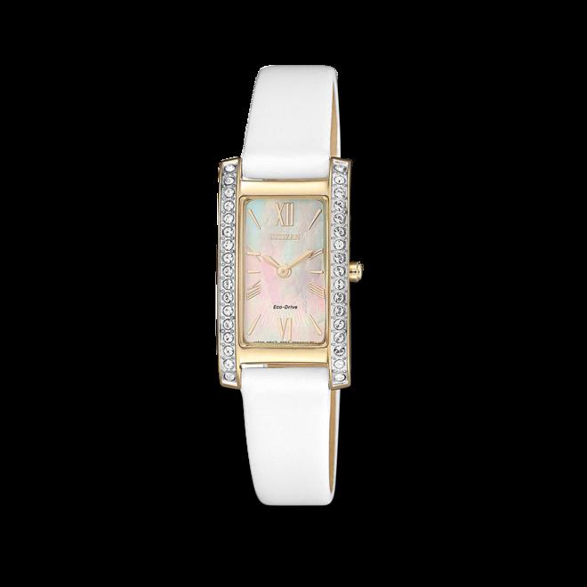 Damenuhr Citizen Eco Drive Elegance mit perlmuttfarbenem Zifferblatt und Kalbsleder-Armband bei Brogle