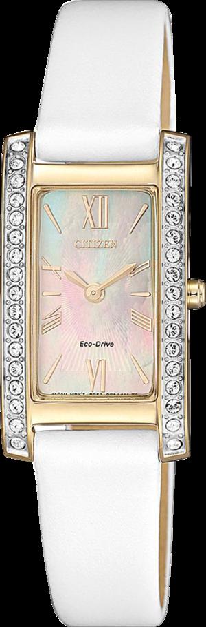 Damenuhr Citizen Eco Drive Elegance mit perlmuttfarbenem Zifferblatt und Kalbsleder-Armband