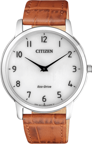 Herrenuhr Citizen Elegant mit silberfarbenem Zifferblatt und Armband aus Kalbsleder mit Krokodilprägung