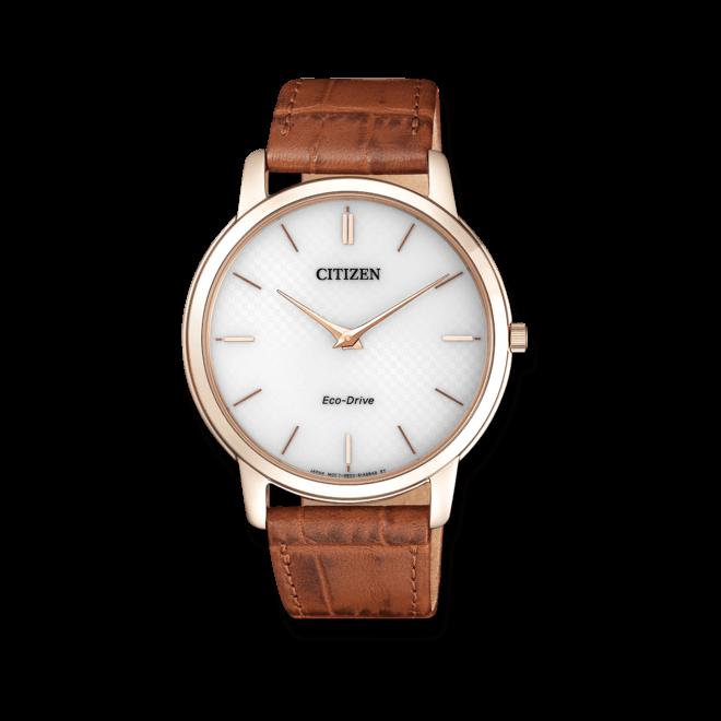 Herrenuhr Citizen Elegant mit weißem Zifferblatt und Armband aus Kalbsleder mit Krokodilprägung