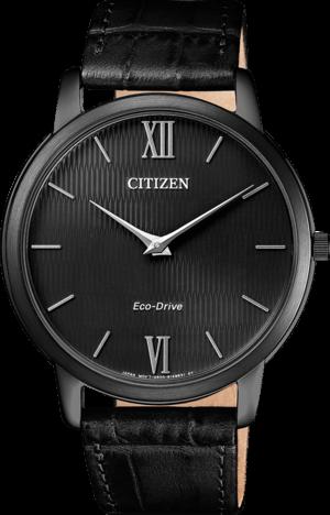 Herrenuhr Citizen Elegant mit schwarzem Zifferblatt und Armband aus Kalbsleder mit Krokodilprägung
