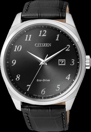 Herrenuhr Citizen Elegant Herren mit schwarzem Zifferblatt und Armband aus Kalbsleder mit Krokodilprägung