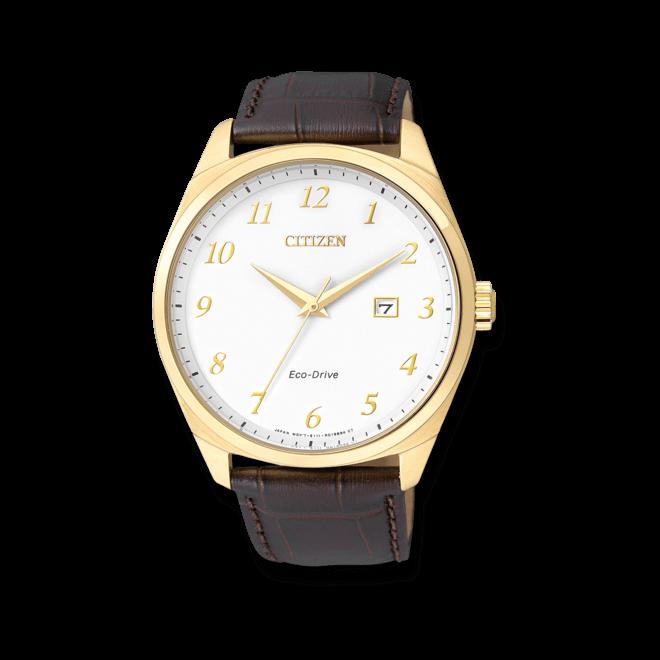 Herrenuhr Citizen Elegant Herren mit weißem Zifferblatt und Armband aus Kalbsleder mit Krokodilprägung bei Brogle