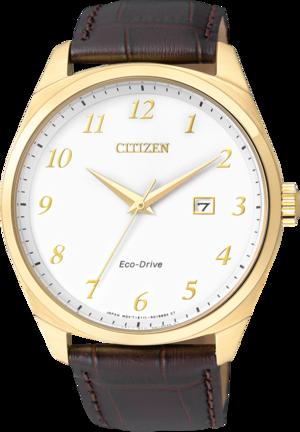 Herrenuhr Citizen Elegant Herren mit weißem Zifferblatt und Armband aus Kalbsleder mit Krokodilprägung