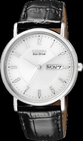 Herrenuhr Citizen Elegant Herren mit silberfarbenem Zifferblatt und Rindsleder-Armband