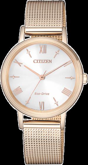 Damenuhr Citizen Elegant L mit weißem Zifferblatt und Edelstahlarmband