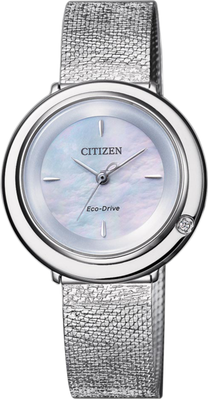Damenuhr Citizen Elegant L mit Diamanten, perlmuttfarbenem Zifferblatt und Edelstahlarmband