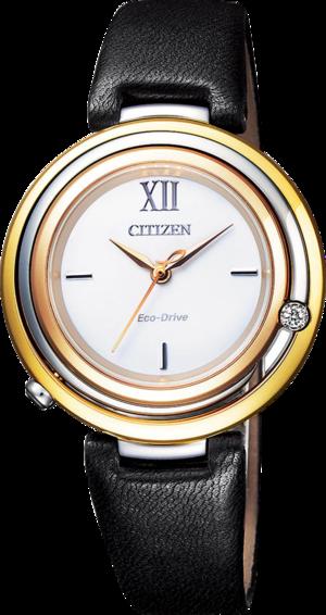 Damenuhr Citizen Elegant L mit Diamanten, weißem Zifferblatt und Kalbsleder-Armband