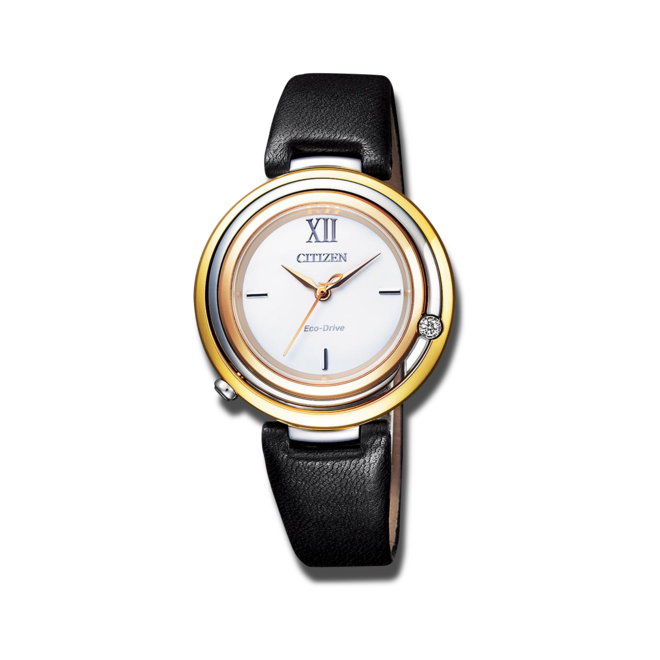 Damenuhr Citizen Elegant L mit Diamanten, weißem Zifferblatt und Kalbsleder-Armband bei Brogle
