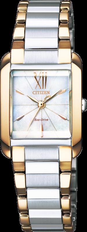 Damenuhr Citizen Elegant L mit perlmuttfarbenem Zifferblatt und Edelstahlarmband
